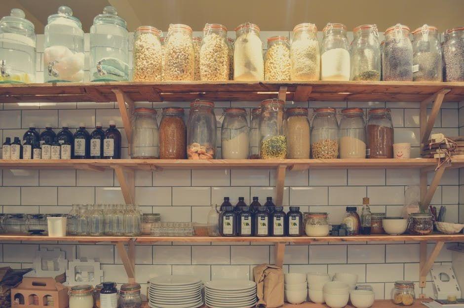 shelves to organize the kitchen, jars to organize the pantry